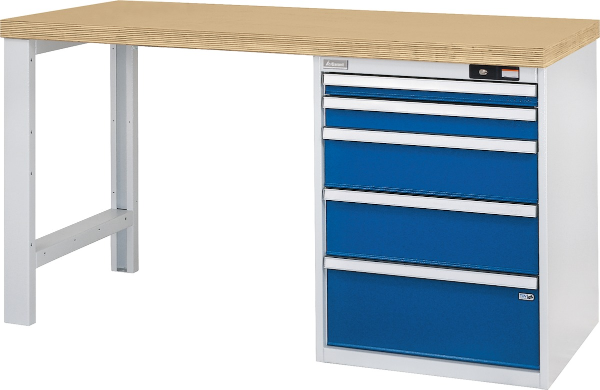 Universal workbench 1500 mm long, with 5 drawers
