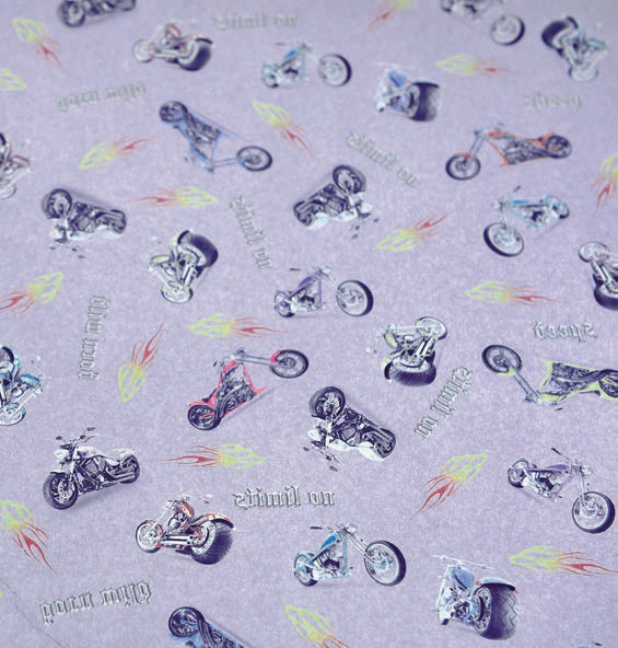 """Motorbikes"" transfer paper"